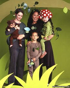 With the help of earth-tone knit clothing, felt, cotton fabric, floral wire, and floral tape, you and your family can transform into walking, talking flora and fauna of the enchanted forest.