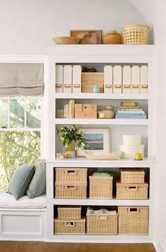built-in seating and storage! for the big window
