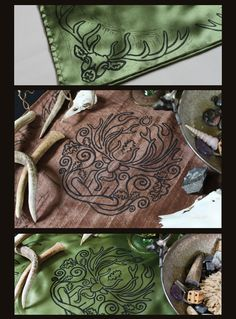 Cernunnos Altar Cloth by Imogen Smid of the Stag's Head Studio:  Hand Printed and Double Sided - Stag, Celtic God, Deity, Forest God, Lord of Beasts, Wildlord, Horned God, Deer, Oak Leaf, Antler, Pagan Altar, Celtic Altar, Wiccan Altar, Wicca, Green, Brown