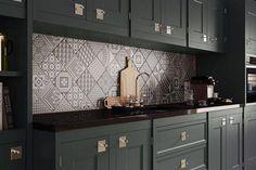 armoires-cuisine anthracite crédence carreaux ciment Grupo Peronda