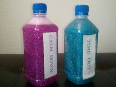 Pinning this to my children board but let's face it...I could use a sparkly time out occasionally. Time-out bottles. Fill a bottle with 3/4 water, one bottle of glitter glue, & ultra fine glitter. Then send this bottle with your child to timeout and they can watch it settle to calm them. Once the glitter is settled their time is up! wow this is such a good idea! if they mess with the bottle their time out time is longer.
