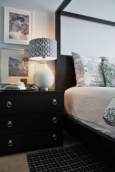 IKEA Malm Dresser w/ chrome pulls.don't like ikea but love that lamp Ikea Malm Dresser, Dresser As Nightstand, Malm Drawers, Dressers, Style At Home, Home Bedroom, Bedroom Decor, Bedroom Chest, Bedroom Colors