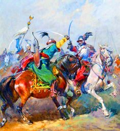 Battle between Ottoman and Polish cavalry Historical Art, Historical Pictures, Standardbred Horse, Warrior Paint, Turkish Military, Art Of Fighting, Ancient Persian, My Art Studio, Modern History