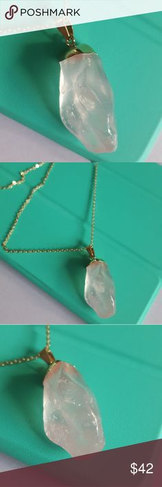 Light pink, crystal fashion pendant This pendant includes and long, gold plated chain, that may be switched out with any other chain. This pendant looks nice on a ling chain that can be layered with other pendants.   Set in yellow gold plated, over brass.   Chain be slipped pver head to put on, but also has lobster clasp.  This chain is adjustable to make different lengths.    This light pink crystal is a very neutral color that is trending this year! Box is provided with this necklace…
