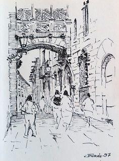 Carrer del Bisbe, Barcelona. Joaquim Francés - ink sketch