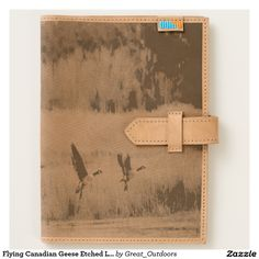 Flying Canadian Geese Etched Leather Journal