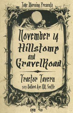 "GravelRoad is celebrating the release of their latest 7 inch vinyl record ""Weavin"" b/w ""Flesh and Bone"", with a show at the Tractor Tavern on Saturday November 14.  The band is fresh off the road from their European tour and will be performing along with long time friends Hillstomp.   Doors are at 8 and the show starts at 9.  21+  Full event details here:  https://www.facebook.com/events/1053444868009241/ Tickets are $10 and can be purchased here:  tickets"