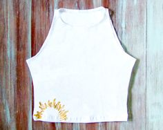 White Crop Top With Embroidered Sun-Yoga by ZellyaDesigns on Etsy