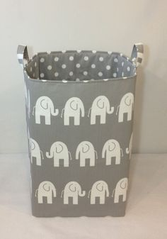 Customize Laundry Hamper Toy Bin 13 X13 X21 Basket Storage Organizer White Elephant On Grey With Dot Lining