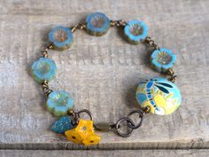 Turquoise Blue Czech Glass Flower Bracelet by GillsHandmadeJewels