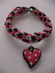 Pink Heart Inverted  Fishtail Rainbow Loom Charm Bracelet -
