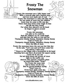 frosty the snowman lyrics frosty the snowman free printable christmas carol lyrics sheets