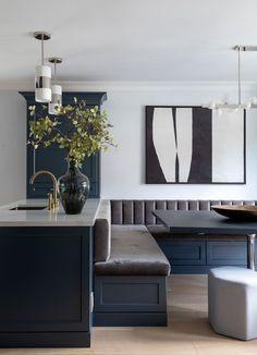 Banquette Seating In Kitchen, Open Plan Kitchen Dining, Kitchen Benches, Dining Nook, Kitchen Island Built In Seating, Kitchen Booths, Kitchen Nook, Kitchen Layout, Kitchen Design