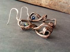 Rustic Hammered Copper Earrings Wrapped by JennieVargasJewelry, $13.50