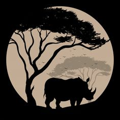 Silhouette background with rhino under the tree Premium Vector Elephant Silhouette, Animal Silhouette, Collage Illustration, Graphic Design Illustration, Elephant Skull, Wild Animal Wallpaper, Tier Wallpaper, African Paintings, Africa Art