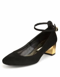 Limited Edition Ankle Strap Block Mid Heel Court Shoes with Insolia® - Marks & Spencer