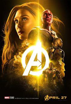 """""""#AvengersInfinityWar"""" Los héroes del #MCU reunidos en nuevos carteles coloreados con los diversos matices de las Piedras del Infinito. #Vision está en amarillo por la Piedra de la Mente, el grupo de #CaptainAmerica está en azul para la piedra del Espacio, el equipo de #IronMan tiene color rojo para la Piedra de la Realidad, el equipo de #BlackPanther está en verde para la piedra del Tiempo y por último los #GuardianesDeLaGalaxia junto a #Thor están en morado para la piedra del Poder…"""