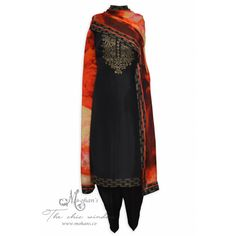 Ravishing ebony unstitched suit accentuated with swarovski work on neckline-Mohan's the chic window Indian Suits, Punjabi Suits, Salwar Suits, Indian Look, Indian Ethnic Wear, Pakistani Bridal Dresses, Pakistani Outfits, Casual Work Outfits, Pretty Outfits