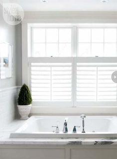 Master Bath window tx idea ~ California shutters over the lower portion Bathroom Window Privacy, Bath Window, Bathroom Window Treatments, Bathroom Windows, Bathroom Blinds, Kitchen Windows, Privacy Glass, Kitchen Curtains, California Shutters