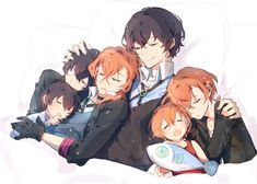 three Osamu Dazai and three Chuuya Nakahara, canon timeline, dark era/teen, and child Cute Anime Chibi, Anime Love, Anime Guys, Manga Anime, Dazai Bungou Stray Dogs, Stray Dogs Anime, South Park, Dazai Osamu, Demon Slayer
