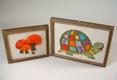Vintage Embroidery Turtle Mushrooms Samplers by ShopAtGeris, $10.50
