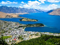 View from the gondola of Queenstown - the most beautiful place we've yet seen, South Island, NZ Honeymoon In New Zealand, New Zealand Cities, Queenstown New Zealand, Japan Holidays, Harbor Town, Airlie Beach, Helicopter Tour, Online Travel, South Island