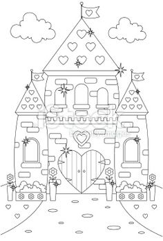Fairytale Enchanted Sparkly Princess Castle/Palace to Color In. Royalty Free Stock Vector Art Illustration