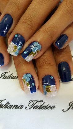Uñas Hot Nail Designs, Beautiful Nail Designs, Joy Nails, Christmas Nail Art, Easy Nail Art, Creative Nails, Gorgeous Nails, Blue Nails, Manicure And Pedicure