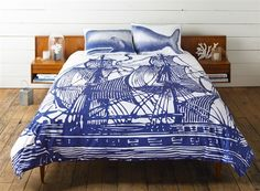 KING SHIP DUVET COVER - Ink