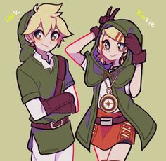 Len and Rin dressed up as Link and Linkle