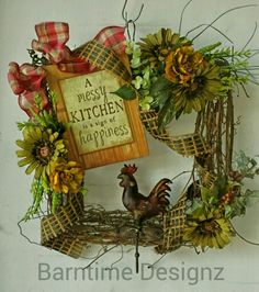 "Twig square wreath for cook!..16"". Metal rooster towel hook, happy sentiment & colorful trims.  $68.  Info@barntimedesignz.com"