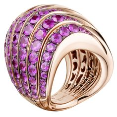ZEBRA Collection Pink Gold and Pink Sapphire Ring by de Grisogono