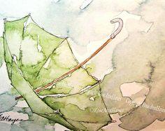 Green Umbrella in the Rain Watercolor Painting Print