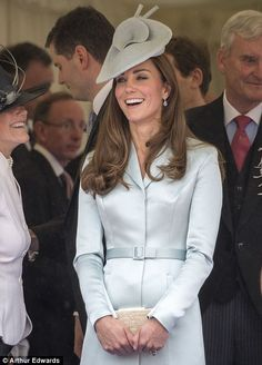 The Duchess wore a pale blue Christopher Kane coat