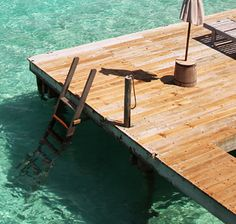 Floating on a dock.