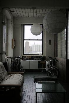 window + brickwork + city.
