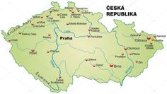 Mapa České republiky jako přehledovou mapu v pastelově zelený