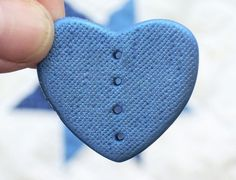 Irridescent Blue Denim Polymer Clay Heart by Number13BusShelter, $2.10