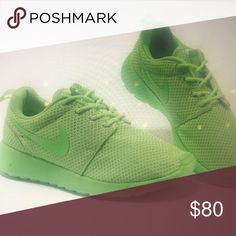 quality design 27a3a 0a81c New ( worn exactly one time) neon Nike roshe run New Neon yellow Nike roshe