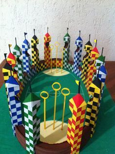 Quidditch pitch from Harry Potter Everything is made only of PAPER and painted by hand Based only on photos and videos. If you are interested to buy som. Harry Potter Quidditch, Quidditch Pitch, Harry Potter Thema, Theme Harry Potter, Harry Potter Outfits, Harry Potter Birthday, Harry Potter Diy, Harry Potter Movies, Harry Potter Fandom