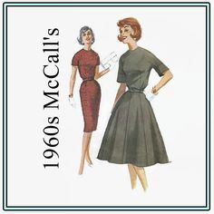 1960s Sewing Pattern - Vintage McCall's 5956 - Misses' Dress with Gored Slim or Full Skirt - Size 14 Bust 34 - Jewel Neckline Wiggle Dress by EightMileVintageSews on Etsy