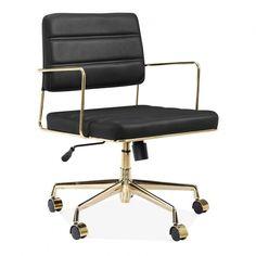 Cult Living Grosvenor Leather Office Chair Black & Gold | Cult UK