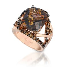 Wear the trend now!  Cushion Cut Chocolate Quartz® Gladiator® Ring in Strawberry Gold.  The Gem of 2014 in the Shape of 2014.