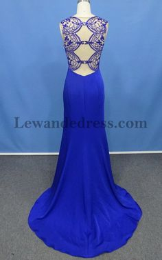 Illusion Beaded Sweetheart Jersey Sweep Train 50241 Prom Dress Royal   Lewande 50241 Royal  -  199.00   LewandeDress.com 6c788d6ca5f9