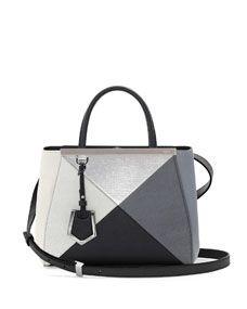amazing bag w black, white, grey and silver - Fendi 2Jours Small Mixed-Leather Tote Bag