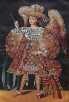 Ideas para #decoración #Colombia. de Importación, para la venta.  Military Archangel Original Peru Folk Art Oil Painting On Canvas Colonial 087