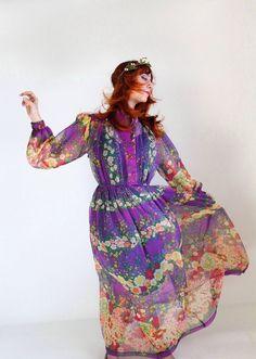 1970s Maxi Dress Purple