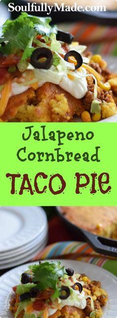 This Jalapeño Cornbread Taco Pie is not your typical taco! It's delicious taco filling topped with a tasty spicy cornbread all cooked in one skillet. (one skillet meals tex mex) Entree Recipes, Mexican Food Recipes, Beef Recipes, Cooking Recipes, Mexican Dishes, Easy Recipes, Dinner Recipes, Frito Pie, Taco Pie