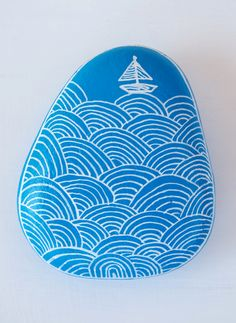 #Blue #Ship #Boat #Waves - Painting on Stone Painted Art on Sea Stones by KYMA - website: http://kymastyle.com - shop: http://kymastyle.dawanda.com - facebook/instagram/twitter: kymastyle - contact 4 orders + infos: kymastyle@yahoo.com