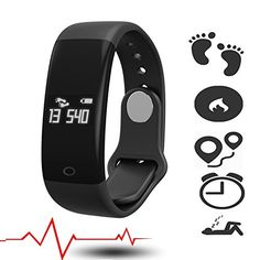 Fitness Activity Tracker Heart Rate Monitor with Pulse Meter Sports Watch Smart Watch Activity and Sleep Tracker Fitness Armband Waterproof Step Counter Calorie Usage SMS Calls notification Black *** Want to know more, click on the image.